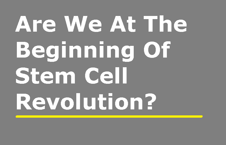 Are We At The Beginning Of Stem Cell Revolution?
